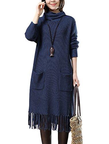 MatchLife Femme Col Roulé Quasten Pull Robe Style1-Bleu Marin
