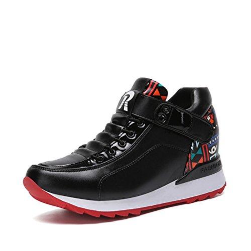 JRenok Chaussure Femme en Cuir Basket Montante Fantaisie Chaussure de Sport Compensée Noir