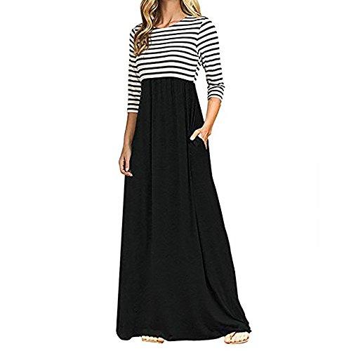Yesmile Damen Kleider Frau Streifen Langarm Minikleid Causal Patchwork Einfarbig Casual Strech Kleid...