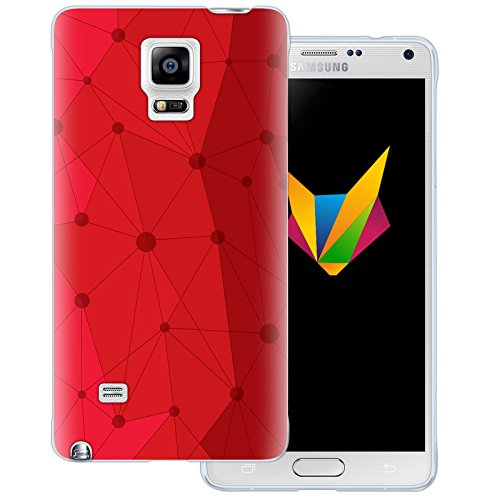 Mobilefox Grafik transparente Silikon TPU Schutzhülle 0,7mm dünne Handy Soft Case für Samsung Galaxy Note 4 Grafik Atomium Rot - Cover Gel Hülle