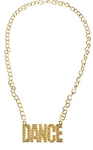 �m Accessoire- 80er- 90er Jahre- Dance Gold Kette, Erwachsenen Kostümschmuck, Gold (80er Jahre Kostüme Einfach)