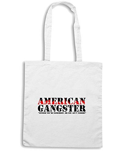T-Shirtshock - Borsa Shopping T1073 american gangster film inspired Bianco