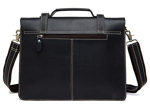 Xinmaoyuan uomini borsette retrò Cavallo pazzo uomo in pelle borsa a tracolla messenger bag Briefcase uomini borsetta,Nero Nero