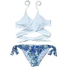 Traje de baño 2018, ♥Ba Zha Hei Mujer Bikini Conjunto con Sujetador Push-up caliente alto halter bikini conjunto piña traje de baño backless bikini brasileño traje de baño sexy mujer