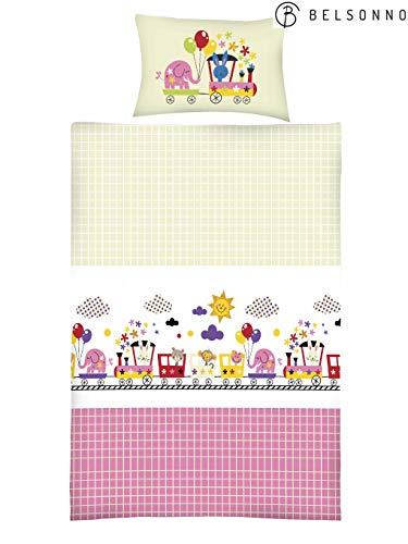 Furniture for Friends Belsonno® Kinder Bettwäsche 100 x 135 cm + Kissen 40 x 60 cm Baumwolle Funny-Train | ÖKO-TEX Standard 100 mit Reißverschluss | Erhältlich mit verschiedenen Motiven