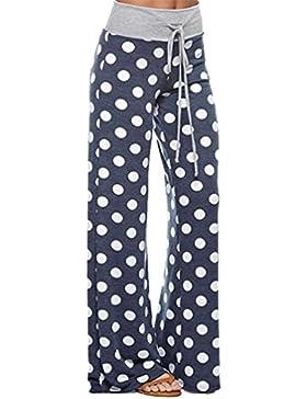 YuanDian Mujer Casual Cordón Impresión Cintura Baja Yoga Amplios Pantalones Palazos Moda Dama Anchos Fluidos Pierna...