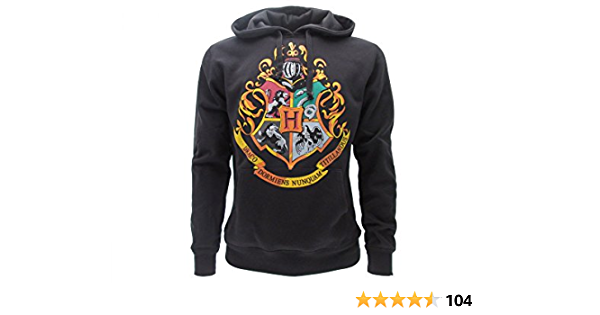 100/% Officiel WARNER BROS Harry Potter SWEAT A CAPUCHE Hoodie Blason ECOLE DE POUDLARD Hogwarts 4 MAISONS L Large