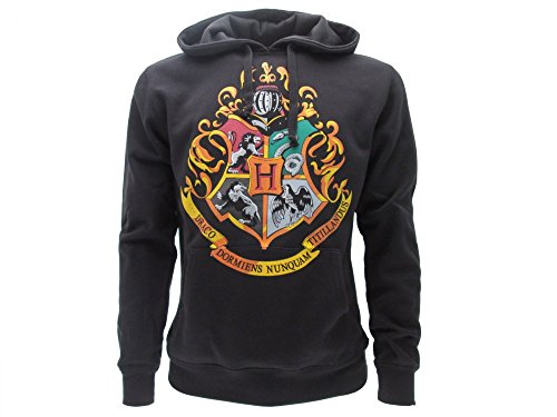 Harry potter felpa con cappuccio scuola hogwarts simboli 4 case - ufficiale warner bros (m medium)