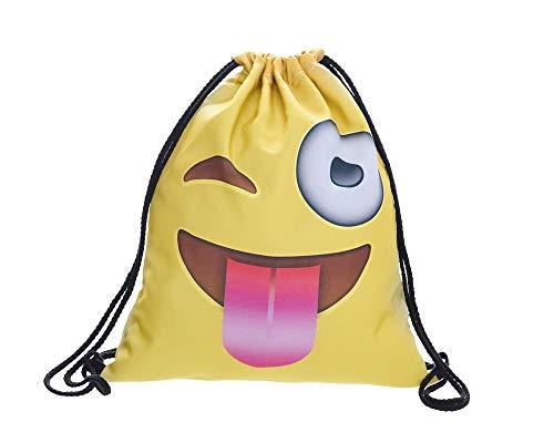 Hanessa Jutebeutel -Smiley-Emoji zwinkern Zunge gelb - mit lustigem Spruch Aufdruck Sportbeutel lustige Sprüche Rucksack Beutel Tasche Gym Bag Hipster Fashion Sport-Tasche Einkaufs-Tasche RU-292 -