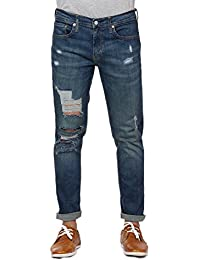 Estrolo Highly Distressed Mid Rise Narrow-Fit Men's Jeans
