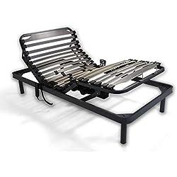 Duermete Cama articulada eléctrica Reforzada-Disponible en Varias Medidas, Madera, Gris, 90 x 190