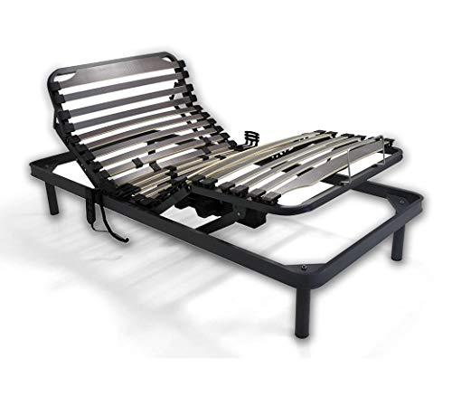 Duermete Cama articulada eléctrica Reforzada-Disponible en Varias Medidas, Haya, Gris, 90 x 190