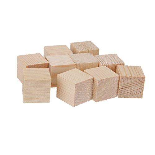MagiDeal 24pcs Embellecimiento Cubos Madera Natural