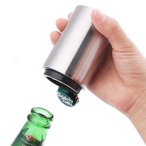 ZZM Abrebotellas de cerveza - Imán-Automático, Abrebotellas de acero inoxidable, empujador de...