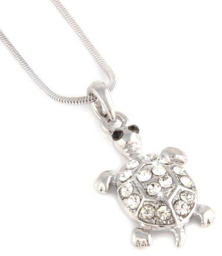 Süße Silber Ton 2,5cm 3D-Schildkröte Charm Halskette mit Kristall klar Fashion Jewelry