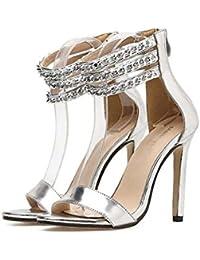 Women Pump 11cm Stiletto Open Toe D'orsay Chains Ankel Strap Dress Shoes Wedding Shoes Fashion Pure Color Zipper Party Shoes Eu Size 34-40