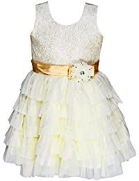 ChipChop Kids Girls Partywear Embellished White Net Dress - 1 to 2 Years