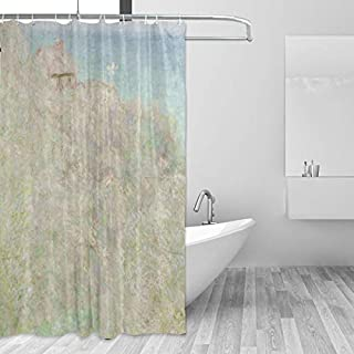 Ahomy Shower Curtain Le Petit Ailly Varengeville In The Sun Monet Art Bath Curtain Waterproof Mildewproof Polyester Fabric, 3D Printed Shower Curtain with 12 Hooks Privacy Protection For Home and Bathroom 72x72 Inch