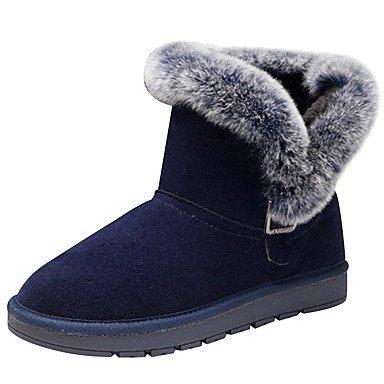 RTRY Scarpe Donna Vacchetta Autunno Inverno Comfort Snow Boots Fashion Stivali Stivali Tacco Basso Round Toe Stivali Mid-Calf Fibbia Per Outdoor Casual Blue US6 / EU36 / UK4 / CN36