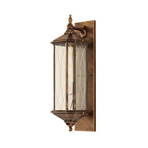 Industriestil-Außenwandleuchten, traditionelle europäische klassische 1-Licht-Außenleuchten-Laterne mit Klarglas - Innenhof, Flur, Veranda Außenwandleuchten (Color : Bronze) -