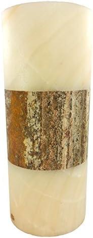 Bicolor Onyx Marble Vase Flower Vase Marble in Cylinder Form 30 x 15 cm 6b6e4d