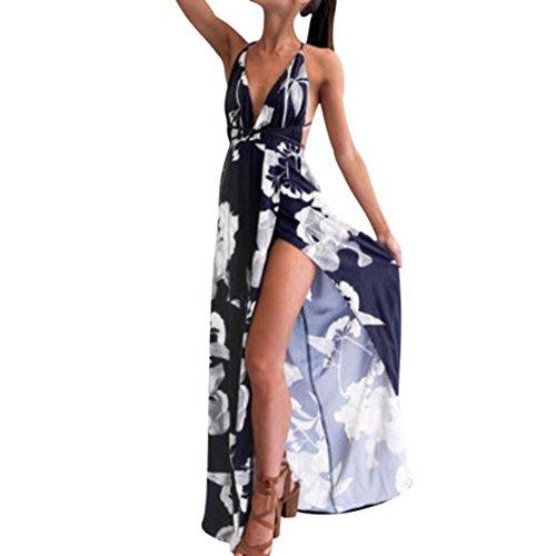 VENMO Sommerkleider Damen Frauen Sommer Boho Röcke Lange Abendkleid Strandkleid Sundress (S, Navy)
