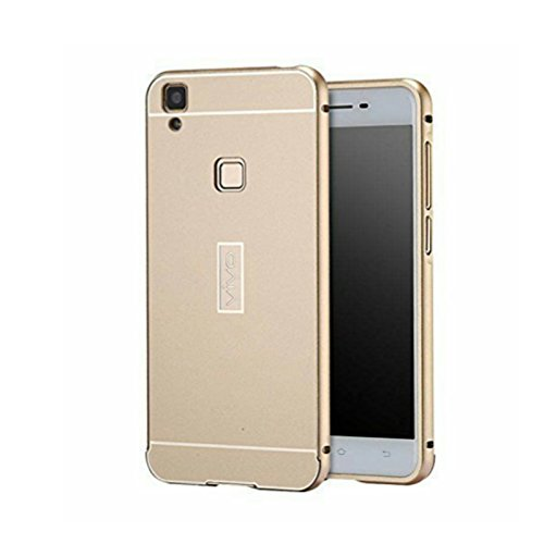 NIK Tech Online Premium Mirror Acrylic Back case Cover with Metal Bumper case Cover for Vivo V3 Max (Gold)