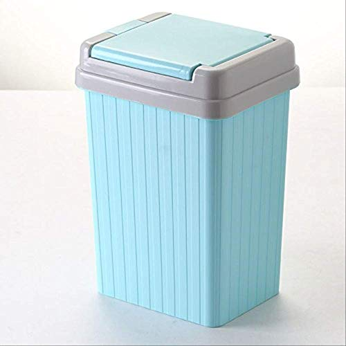 Bowayeen Haushaltsmüll Kann Kreative Wohnzimmerküchen Mit Lid Plastic Storage Bin Narrow Press Trash Can 11l 33 * 18 * 22cm Multi-Color-optional blau