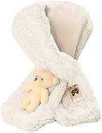 BEETEST Bufanda Piel de Conejo del Faux Lindo oso de invierno los niños niñas bebés calentador de cuello Blanco