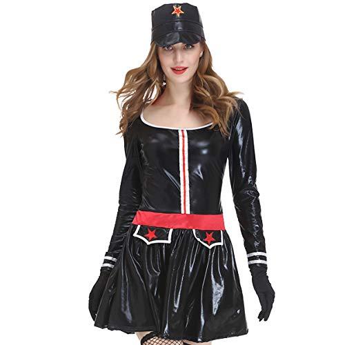 XWQYY Navy Sailor Rollenspiel Kostüm Performance Kostüm Soldatin Sexy Uniform,Black-M