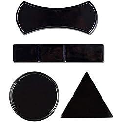 LAGUI Sticky Fixate Gel Pads, Support Universel pour téléphone Portable Sticky Mat Nano Technology Bande pliée, Noir 4 Pack.