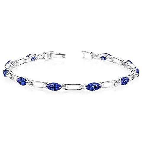 Revoni Fabulous Trend: Marquise Shape Blue Sapphire Gemstone Bracelet in Sterling Silver