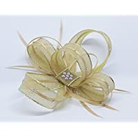 shimmering gold fascinator with diamante' on an alice band