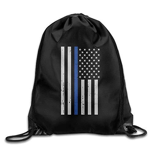 ZHIZIQIU Military Thin Blue Line Flag Drawstring Backpack Bag Line Sheer