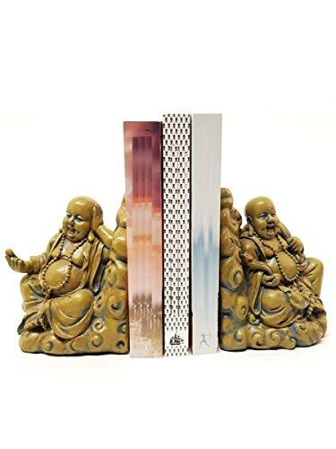 H.Originals Buddha Buchhalter | Buddha Buchhalter aus Polyresin (Regen - und frostbeständig | Höhe 15 cm | Braun, Holz | Dekorationsartikel für Haus und Garten -