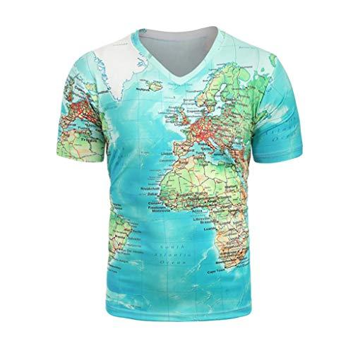 SSUDADY T-Shirt Herren Männer Sommer Mode Trend Karte Drucken Kurzarm T-Shirt mit V-Ausschnitt Basic Tees Fashion Einfaches T-Shirt Sweatshirts Tops Für Männer XS-2XL