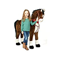 Pink Papaya Giant Horse XXL | Almost life-size gigantic toy horse as an alternative to normal rocking horses | With brush to comb the shining mane | With different sounds | Head height approx. 125 cm | Shoulder height approx. 90 cm