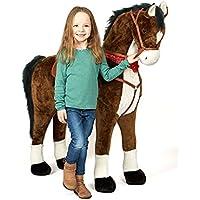 Pink Papaya Giant Riesen XXL Kinderpferd, 125 cm Plüsch-Pferd Zum Reiten, Fast Lebensgroßes Spielzeug Stehpferd Zum Drauf sitzen, bis 100kg belastbar, mit Verschiedenen Sounds, inkl. Kleiner Bürste preisvergleich bei kleinkindspielzeugpreise.eu