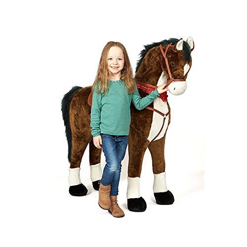 Pink Papaya Giant Riesen XXL Kinderpferd, Herkules, 125 cm Plüsch-Pferd zum reiten, fast lebensgroßes Spielzeug Pferd zum drauf sitzen, bis 100kg belastbar, mit verschiedenen Sounds, inkl. kleiner Bürste (Pferde Für Pferd Spielzeug)
