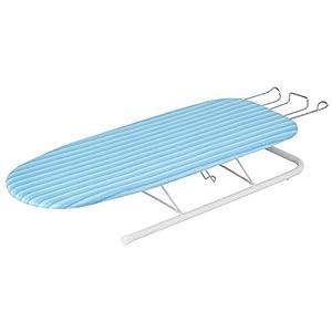Honey-Can-Do BRD-01435 Tischbügelbrett mit ausziehbarer Bügeleisenablage, Stoff, Light Blue, 102.87 x 31.75 x 3.81 cm