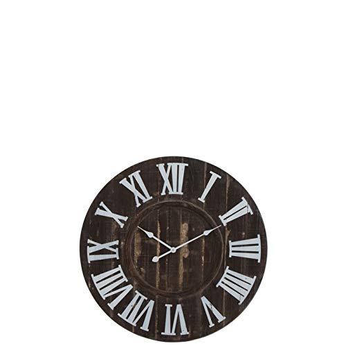 J-Line by Jolipa Horloge 80 cm Industrielle en Bois Marron foncé