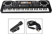 Electronic Keyboard Piano 61 Keys, Portable Electric Organ, Bundle with Adaptor Microphone, Electronic Keyboar