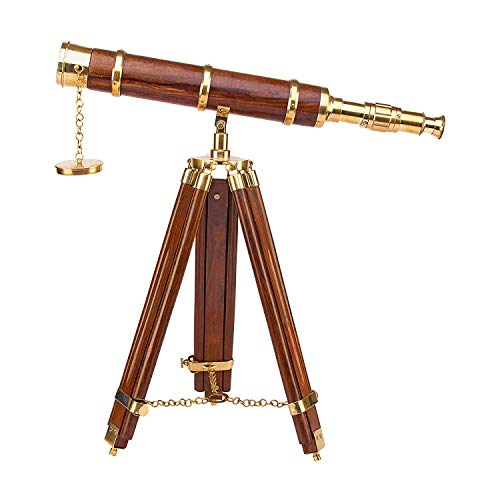 Indian Handicrafts Export Kartique Telescope with Tripod in Teak Finish | Nautical Gift | Antique | Vintage | Functional | Showpiece -