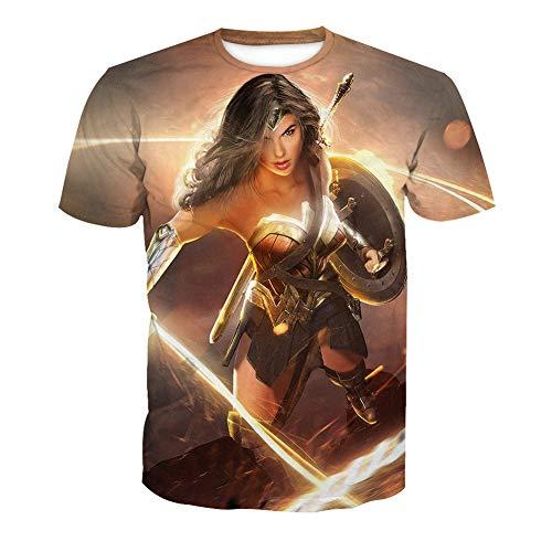 RJHWY 3D T-Shirt Mit Rundhalsausschnitt Fruit of The Loom Schwere kurzärmlige Unisex-Anime-Sommer Unterhemd Wonder Woman