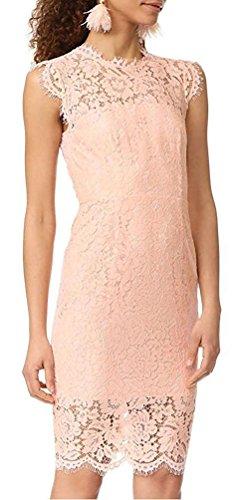 Brinny Damen Spitzenkleid knielang Ärmellos Cocktailkleid mit Spitze Elegant Kleid Ballkleid Partykleid Sommerkleid Pink