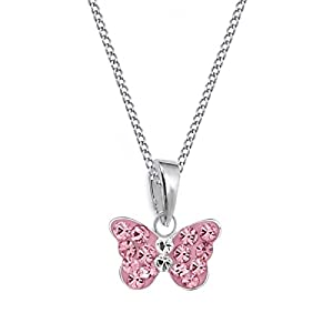 Mini Rosa Kristall Schmetterling Anhänger + Kette 925 Sterling Silber