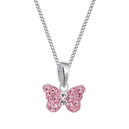 Rosa Mini Kristall Schmetterling Anhänger + Kette 925 Sterling Silber Mädchen Baby Kinder (38) (Schmetterling Halskette Für Mädchen)
