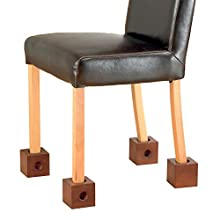 """Homecraft Wooden Chair Raisers (Eligible for VAT relief in the UK), 3"""" Rise, Raise Chair Height, Fits Various Chair Leg Widths, Helpful for Adapting Furniture for Elderly, Disabled, Handicapped"""