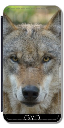 DesignedByIndependentArtists Custodia in PU Pelle per Samsung Galaxy Ace 4 (SM-G357) - Foto - Sorridente Lupo by EDDA