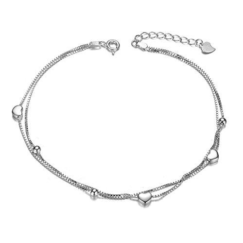 Sweetiee donna cavigliera di due strati in argento 925 con cuori e piccole perle, platino, 210mm